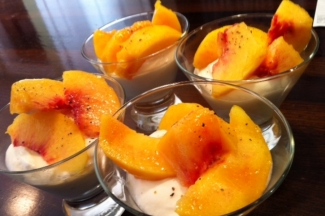 Peppered Peaches with Zabaglione